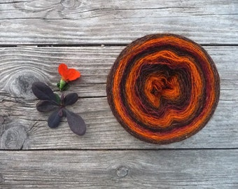 Laceweight 100 Percent WOOL - brown orange- one ball 3.5oz/ 100 gr