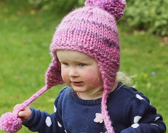 Earflap Hat Knitting Pattern,  Hat with Pom Pom, Baby Child and Adult sizes, Easy Knit Pattern, KELSEY, Instant Download PDF Pattern,