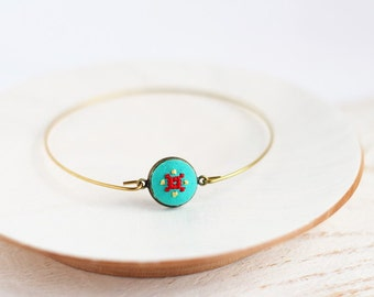 Bangle bracelet with bright embroidery on mint fabric br002