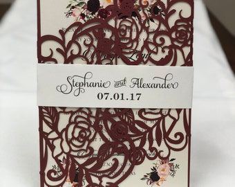 Marsala Laser Cut Wedding Invitations Pocket Wedding invitation Die Cut Laser Cut Burgundy Maroon Shimmer Marsala Floral Laser Cut Wedding