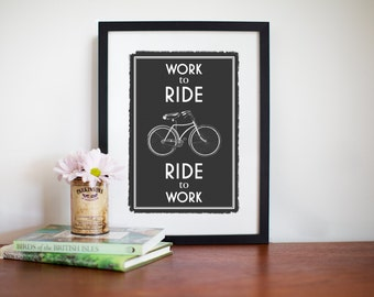 Bicycle Poster, Black & White, Biker Gift, Bicycle Print, Bicycle Art Print, Bicycle Quote, Bicycle Wall Art, Bike Decor, Bike Art, A3 Print