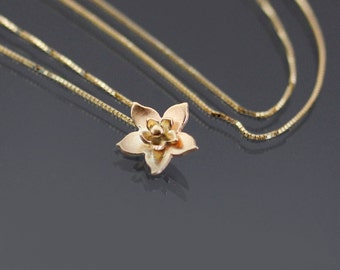 Tiny 14k Gold Blossom Necklace, dainty gold necklace, botanical jewelry, small gold pendant, gold flower