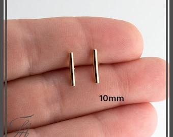 Gold Bar Earrings, Plain Round Bar Studs, Gold filled Studs, Handmade Studs, Bar Studs, Gold Stick, Everyday Earrings, Line Earrings, 10mm