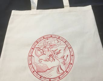 Embroideted tote bag, book bag, dragon and wizard