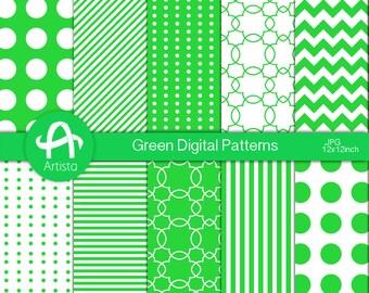 Green Digital Patterns Digi Download Scrapbook Digital Paper Downloads