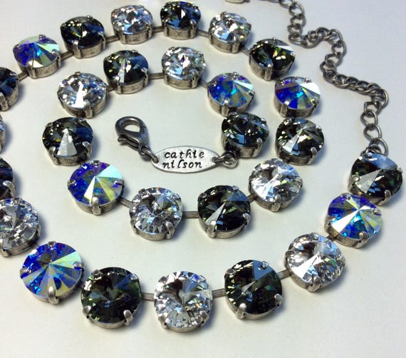 Swarovski Crystal 12MM Necklace -  Designer Inspired - Black Diamond, Crystal, Aurora Borealis - Sparkle & Shimmer - SALE - FREE SHIPPING