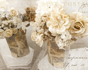 Roses Photography, Roses Floral Art, Still Life Flower Wall Decor, Paris White Roses Art, Romantic Impressionistic Autumn Fall Flower Prints