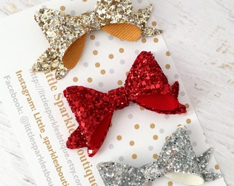 Red glitter bow,gold glitter bow,silver glitter bow, baby bow,girls hair bow, christmas bow