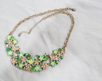 Green flower butterfly bib necklace