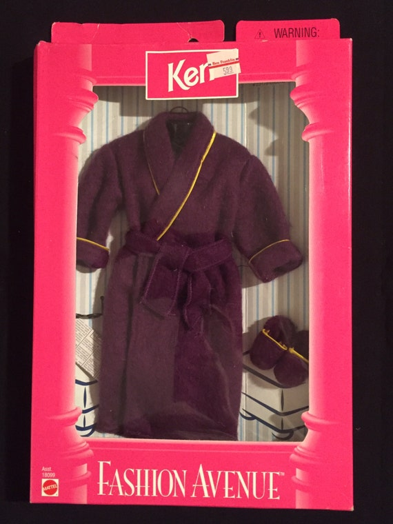 FREE SHIPPING-New In Box-Mattel-Fashion Avenue-Ken-Barbie-Purple Robe-Slippers-Paper-And Reading Glasses