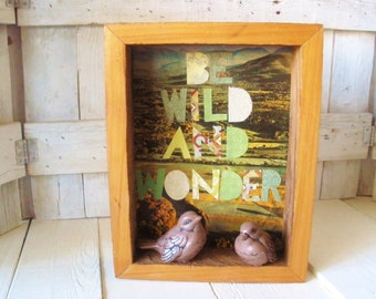 Shadowbox collage assemblage wild bird vintage landscape greens browns- free shipping US