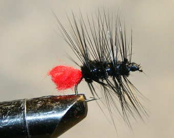Fly Fisherman - Made in Michigan Fly - Hand-tied - Black with Red - Fly Fishing Flies - Classic Fishing Flies - Fly Fishing Shop