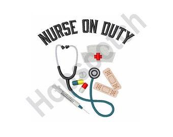 Nurse On Duty - Machine Embroidery Design, Nurse