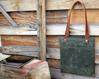 Waxed Canvas and Leather Lunch Tote iPad Tote - Reader Tote- Tablet Tote