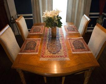 Woven Turkish Peacock Table Runner & Place Mat Set (Mini Rug/Carpet)