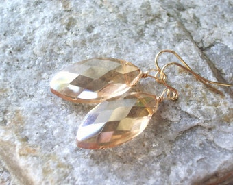Champagne wedding earrings marquise crystal earring bridesmaid bridal party and gold dangle earrings