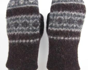 Brown Shrunken Wool Sweater Mittens