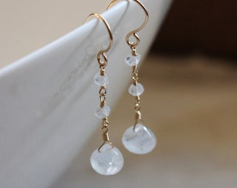 Rainbow Moonstone Earrings, 14k Gold Filled, June Birthstone, Semiprecious Gemstone, Wire Wrapped, Ice Icy, Dangle Dangly - Selene
