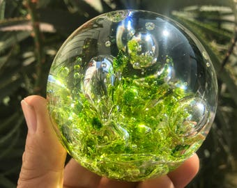 """GIANT Glass Marble -3 1/8 """" Green- Hand Blown"""