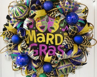 Mardi Gras Wreath, Deco Mesh Wreath, Front Door Wreath, Two Faces of Mardi Gras, Mardi Gras Home Decor, Carnival Celebration, Fat Tuesday