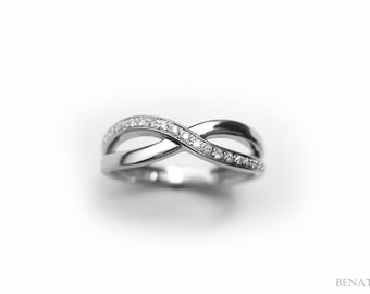 Diamond Infinity Ring, Infinity Knot Diamond Ring, White Gold Infinity Knot Ring With Diamonds, Infinity Band, Promise Ring, Christmas Gift