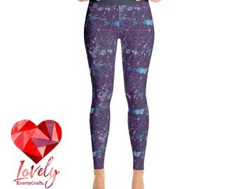 Constellation Yoga Leggings, Printed Leggings, Galaxy Print Leggings, Womens Leggings, Yoga Leggings, Workout Leggings,  Fashion Leggings
