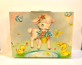 Vintage Child's Suitcase, Margaret Holbrook Design, Lamb, Bluebirds, Baby Duck Bunny, Mid century Nursery Decor, Doll Suitcase, Circa 1950s