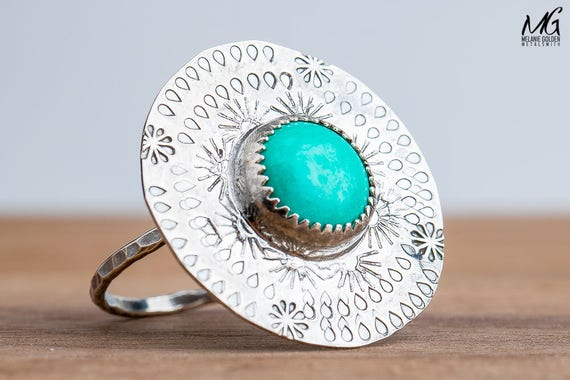 Aqua Blue Tibetan Turquoise Gemstone Ring in Sterling Silver with Stamped Border - Size 8
