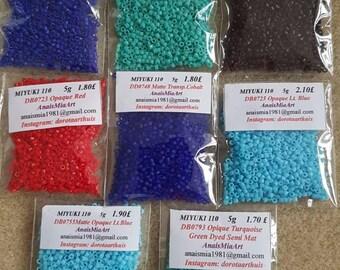 Miyuki Delica 11 5g seed beads. DB700 to DB0899
