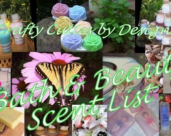 Master Scent Description List - VIEW ONLY Bath & Beauty Fragrance - Whipped Butter, Lotion, Soap, Powder, Body Mist, Oils, Sugar Salt Scrubs