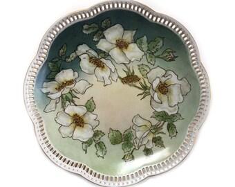 Vintage Schumann Bavaria Germany Reticulated Plate Dogwood Hybrid Tea Rose