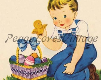 Easter 15 a Sweet Little Boy with an Easter Basket a Digital Image from Vintage Greeting Cards - Instant Download