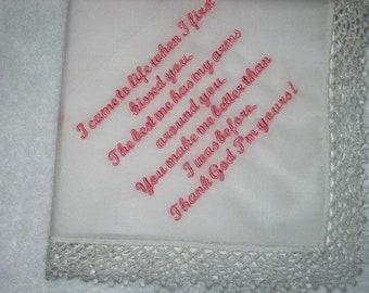 Groom to Bride, Wedding handkerchief from the groom to the bride or bride to groom 213S