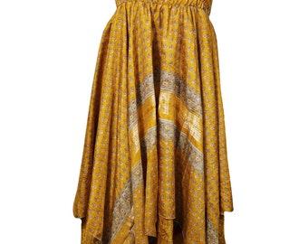 Asymmetric Hem Recycled Silk Sari Halter Dress Summer Fashion Boho Sundress