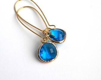 Sapphire Earrings, Blue Earrings With Gold Plated Findings, Boho Earrings, Dangle Earrings, Bohemian Earrings, Chandelier Long Earrings