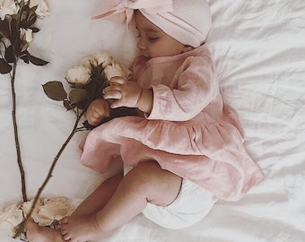 Linen baby dress / baby dress / girls dress / 3/4 sleeve / baby clothes