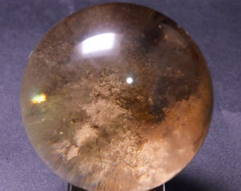 Best Gold Phantom Quartz Sphere Included Garden Crystal ball,Scenic Quartz,Multi-inclusions Crystal Ball(Size:47mm,141g)#1018