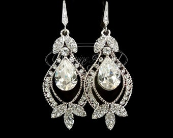 Bridal Earrings Swarovski Teardrop Crystal Earrings Chandelier Earrings Long Rhinestone Earrings Wedding Statement Bridal Earrings FLORA