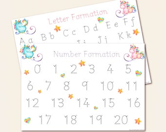 Unicorn Number and Alphabet Letters Formation Mats, Trace Wipe Clean A4 Laminated Mats for Handwriting Practice, Early Learning, EYFS