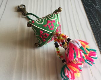 Colorful Thai fabric keychain/ zipper charm, long green keychain/zipper charm