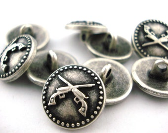 """Crossed Guns Metal Button Antique Silver w Shank 5/8"""" Qty 4 Pistols Leather Wrap Clasp"""