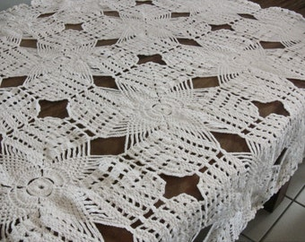 "Crochet Handmade Tablecloth, white Square 49"" x 49"""