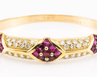 Vintage 18K Cartier Bracelet Authentic Diamond Ruby Bangle Designer - Exquisite!