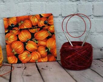 Autumn Pumpkin Circular Knitting Needle Case or Notions case for Knitting Notions, Circular Needle Case, Crochet notions case, Accessories