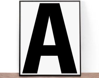 Lettering Art Print, Printable Wall Art, Wall Art, Digital Download, Black and White, Alphabet Art Print, Typography, Minimalist, Modern art
