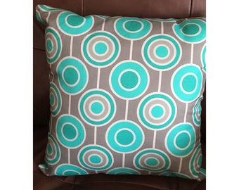 Abstract Reto Aqua and Gray Pillow Throw Pillow