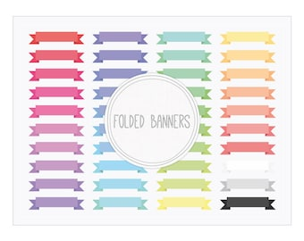 Digital Banners Clip Art - Folded Ribbon Banners Instant download for Invitations, Crafts, Card Making...