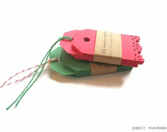 25 Christmas Tags, Vintage Lace Red Tags,  Red gift tags, Green Gift tags, Christmas gift tags, Vintage lace edge tags , Holiday gift tags