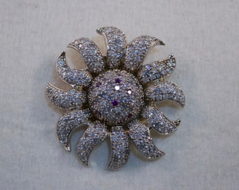 1980's Sterling Swarovski Crystal Studded Sunflower Brooch