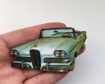 American Pastel Blue 1950s 1960s Car Retro Brooch Pin Up Outfit Accessory Rockabilly Wooden Brooch Birthday Gift Wood Present Unique for Her